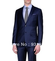 100% Wool Suit Cool Wool Button, Zip 2 Buttons High Quality Man Suits(Coat+Pants+Vest+Tie+Shirt)ZB158 men business suit
