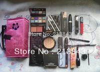 Free Ship 12PCS/Set Makeup Set EyeShadow,Lipstick,Mascara,Brush Set,Eyelash,Cosmetic Bag and So on Christmas Gift Cosmetic Set