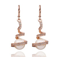 18KGP E011 18K Rose Gold Plated Earrings Health Jewelry Nickel Free K Golden Plating Imitation Pearl Austrian Crystal Element