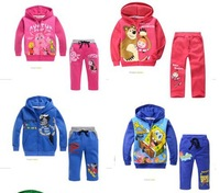 Special offer spring/autumn Children Girl's  Sets cartoon clothes boy and girls sport sets hoodies+pants girls clothes set free