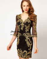 Free shipping 2014 New Arrival Women's Three-Quarter Sexy V-neck Embroidery Slim dress ladies fashion dress Z14009