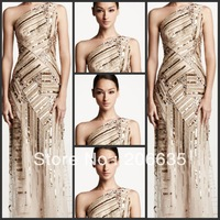 On Sale 25% Discount One Shoulder Beaded Mother Of Bride  evening Dresses Rhinestones   NEWE-0362