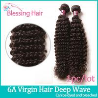 6A Brazilian Curly Virgin Hair,Queen Hair Products,Deep Wave 12-30Inch Hair Weaves,1bundle Lot,Unprocessed Human Hair Weave Wavy