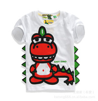 Spot ! 2014 summer short-sleeved summer models dinosaur models red white casual T-shirt