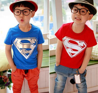 Free shipping 2014 children summer leisure clothing wholesale boy baby superman short sleeve t shirt kids tops tees 5pcs/lot