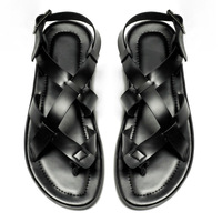 Free Shipping  US Size 7 8 9 10 NEW Leather Casual Thong Flip Flops men gladiator sandals shoes