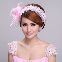 Free Shipping Crystal Handmade Lace Pageant Wedding Hair Jewelry Bridal Headpiece Rhinestone Flower Hairwear Accessories