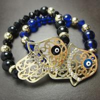 Free shipping 6pcs/lot Fashion accessories glass beads bracelet fatimamarried bangle B86