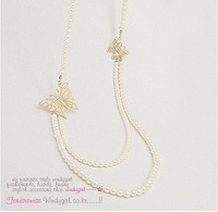 Min order $10 (mix order) Fashion Butterfly pearl necklace for girl