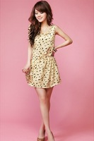Free shipping 2014 women's simple style Fashion classic birds printed draw string dress