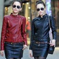 Hot-Selling 2015 Spring Women  Mandarin Collar Handsome Motorcycle Jackets short design plus size Free Shipping M-L-XL-XXL-XXXL