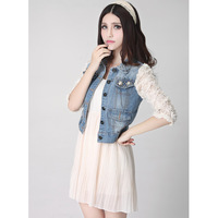 6005 2013 stereo disk flowers beading bag light color water wash denim short jacket