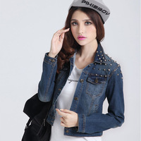 6196 - 2 fashion rivet decoration water wash denim outerwear