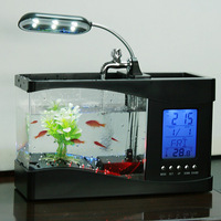 Mini USB LCD Desktop Timer Calendar Clock LED Lamp Light  Fish Tank Aquarium Free Shipping 80012