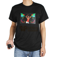 Fashional Sound Activated Music LED T Shirt Men Short Sleeve Detachable EL Panel for Party Dance Rock Disco DJ Lighting
