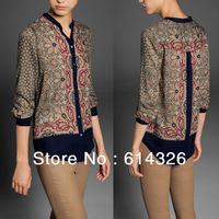 2014 Spring High Quality European style Ladies Shirts Lapel Long sleeve Print blouse Women Clothing