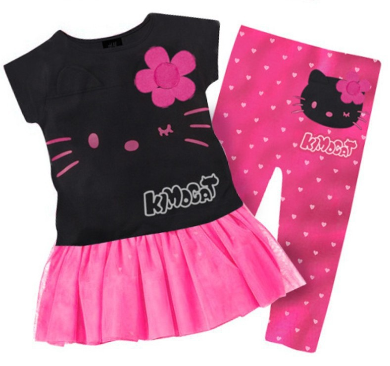 1 Set Retail 2013 New 100% cotton kids clothing set, T-shirt+pant, hello kitty children set, 2 colors available(China (Mainland))