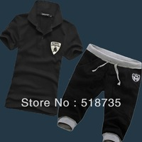 2014 Summer new men's fashion leisure sports short sleeve suits, cotton round neck T-shirt design