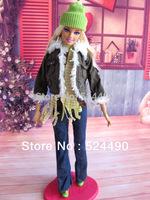(Combine for $14) 6 Pcs Nice Doll Suit Set Dress Coat Blue Pants Scarf Hat Clothing For Kurhn Barbie Doll Children Kids Gift