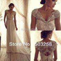 DH32 Straps stunning new model Beach best beaded handwork wedding dress 2014 wedding gown