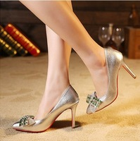 Spring New Rhinestone Beading Pumps Thin Heels Shoes Big Bow-tie Point Toe Women Shoes Wedding Shoes
