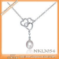 Free shipping original H&Y Jewelry 100% sterling  silver true natural pearl pendant necklace grade of mother's day gift