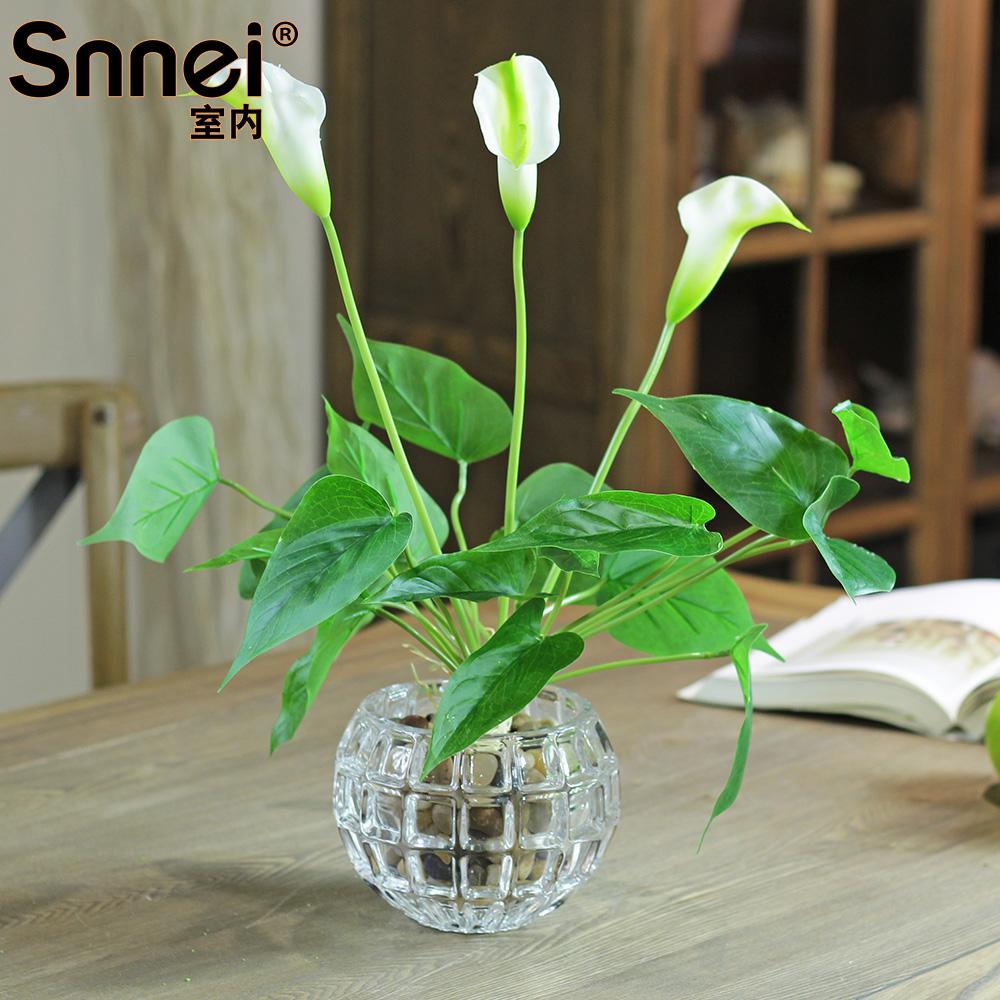 Snnei indoor white calla lily artificial silk flower vase decoration flower fashion home flower dp(China (Mainland))