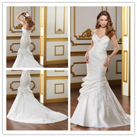2014 Mermaid Deep V-neck Sleeveless Court Train White Appliques Backless Lace Up Elegant Wedding Dresses Bridal Gown