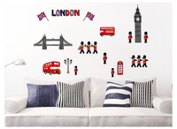Colored Cartoon LONDON IMPRESSION Creative Waterproof Removable Wall Stickers/Pasters for Room Decoration/TV Background