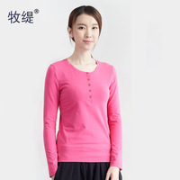 2013 100% women's cotton slim basic shirt o-neck t-shirt female long-sleeve autumn and winter Women long design