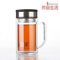 High quality double layer glass cup glass belt tea interval handle 350ml