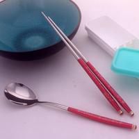 Quality food 304 stainless steel eco-friendly portable tableware chopsticks dinnerware set spoon