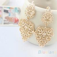 Min. 1pair Retro Vintage Alloy Women Silver Golden Long  Bohemian Pierced Earrings  1JGL