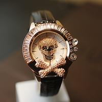 Large dial full rhinestone ladies watch skull watch