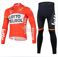 2014 new LOTTO winter thermal fleece orange cycling jersey+black pants bicycle jacket running tights men  N1025