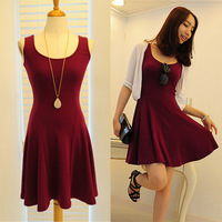 2014 spring Hot sale casual dress slim waist sleeveless spaghetti strap tank dress 100% basic cotton skirt sundresses