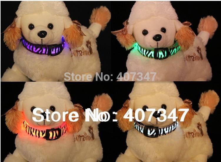 2014 NEW Free Shipping wholesale 5pcs Dog LED collars Zebra style pet products puppy supply(China (Mainland))