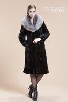 2014 New  Fashion Women Genuine Gorgeous Mink Fur Coat with Fox Fur Collar Jacket EMS Free Shipping