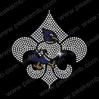New Arrival Free Shipping Fleur De Lis Rhinestone Embellishment Iron On Crystal Appliques Wholesale Transfers 50Pcs/Lot