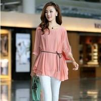 2014 women's Fashion elegant pure color umbrella chiffon unlined upper garment blouse  with belt 3 colors 5622
