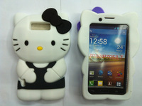 1pcs/lot 3D Hello Kitty KT Cat Silicone Soft Back Cover Case for LG Optimus L7 P700 Free Shipping