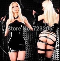 Hot Selling 2014 Faux Leather Costume Sexy Black Dance Wear Gothic Punk PU Wetlook Clubwear Women Fashion PVC Clubwear New