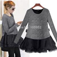 FREE SHIPPING 2014 NEW  female dress dress women's fashion plus size twinset long-sleeve