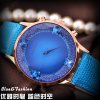 Watch female fashion female form rhinestone table women's watch large dial strap fashion table blue waterproof