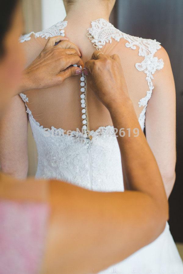 Free Shipping Custom Made New Arrival Sexy Vestidos De Novia Long Train Weddings & Events Lace Wedding Dress Bridal Gown 2014(China (Mainland))