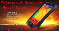 Original Love Mei Life Dirt proof Waterproof Metal Aluminum Case For Galaxy Note 3 N9000 + Gorilla Glass,MOQ:5ps + Free Shipping