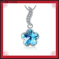 2014 New fashion crystal 925 Sterling Silver pendant with sky blue AAA Cubic Zirconia and 45cm Necklace Women's jewelry 581014