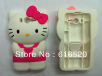 1pcs/lot 3D Hello Kitty KT Cat Rubber Silicone Case Skin Back Cover for Xiaomi Mi 2 Free Shipping