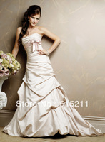 Unforgettable Pink Bow Sashes Strapless Sweetheart Ivory Taffeta Mermaid Wedding Dress Open Back 2013 New Arrival