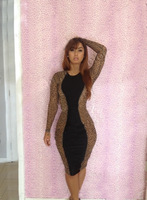 2014 new fashion bandage dress  party dresses Leopard Mesh sexy dresses for women free shipping